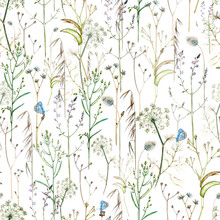 Seamless Watercolor Pattern With Blue Butterflies And Wildflowers On A White Background.