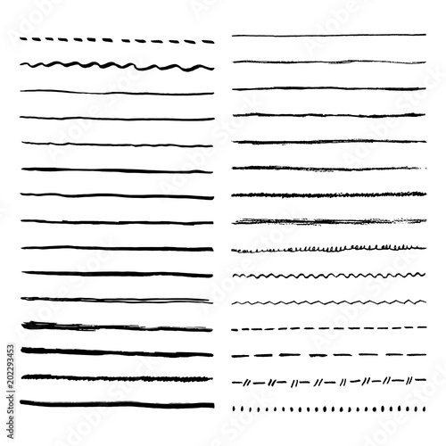 In de dag Boho Stijl Pen brush and pencil vector strokes. Template for brush. Wave, straight, dotted, zigzag lines