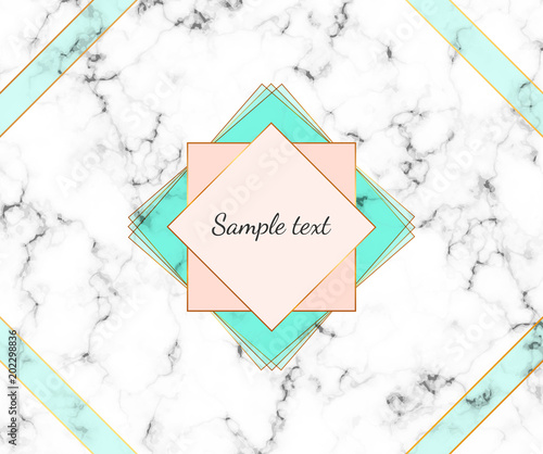 minimalist polygonal frame marble texture with gold lines border