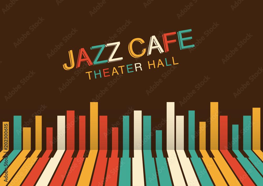 Artystyczne tło noc jazzu w kolorze. Plakat na festiwal jazzowy
