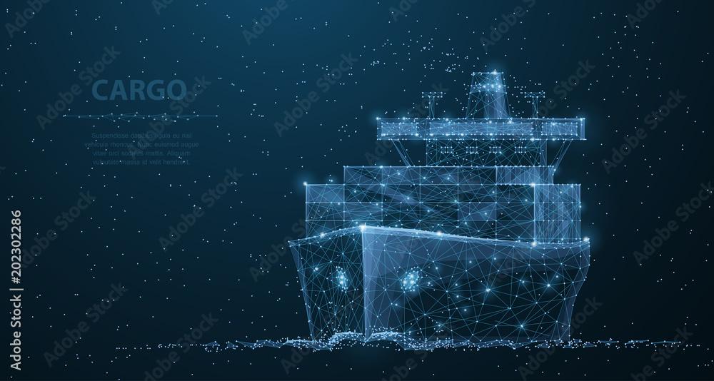 Fototapety, obrazy: Worldwide cargo ship. Polygonal wireframe mesh art. Transportation, logistic, shipping concept illustration or background