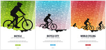 Set Of Bicycle Riding Poster With Doodle Background. Sport, Active Lifestyle. Vector Illustration