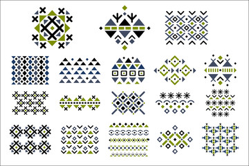 Vector set of colored seamless ornaments. Ethnic patterns in geometric style. Decorative elements for textile or notebook cover