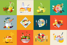 Flat Vector Set Of Dishes And ...