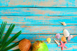 Summer background - Coconuts, shells and starfish on wood background. Summer concept, Vintage retro styles