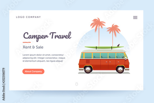 Camper travel website template Wallpaper Mural