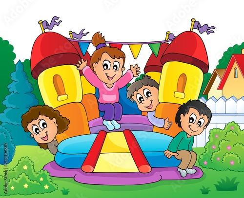 Poster Enfants Kids on inflatable castle theme 2