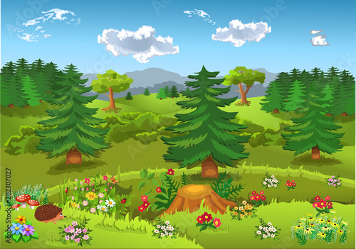 cartoon landscape with hills, mountains, forests, flowers and fir trees