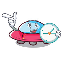 With Clock Ufo Character Carto...