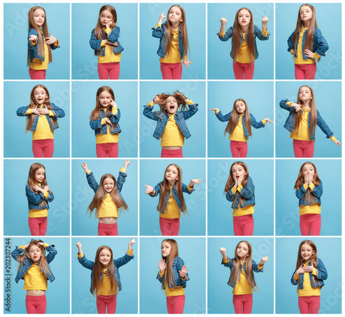 Fotografía  The collage of different human facial expressions, emotions and feelings of young teen girl