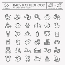 Baby Outline Icons. Editable S...