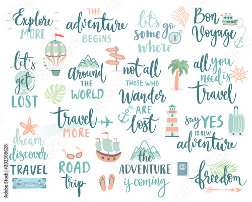 Fototapeta Travel Lettering Design Set - collection of handwritings, trip, journey and adventure themes obraz