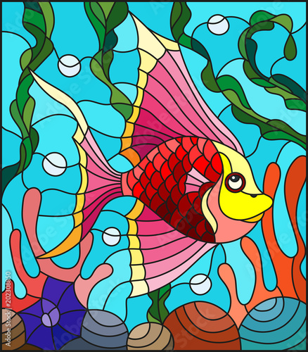 Foto op Canvas Klassieke abstractie Illustration in stained glass style with abstract colorful exotic fish amid seaweed, coral and shells