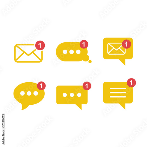 Photo Simple flat minimalist incoming new chatbox messages app vector icon with notification