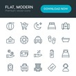 Modern Simple Set of hotel, shopping, travel Vector outline Icons. Contains such Icons as card, mirror, building, credit, sky, buy and more on white background. Fully Editable. Pixel Perfect