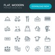 Modern Simple Set of hotel, shopping, travel Vector outline Icons. Contains such Icons as fashion, modern, office, reception, journey and more on white background. Fully Editable. Pixel Perfect