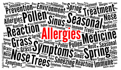 Fotografiet  Allergies word cloud concept