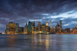 View on the skyline of Manhatten in New York in the USA at sunset