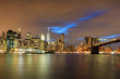 view on the skyline of Manhatten and the Brooklyn Bridge in New York in the USA at sunset