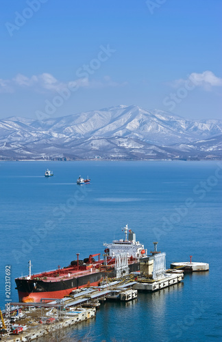 Tanker near the oil terminal.