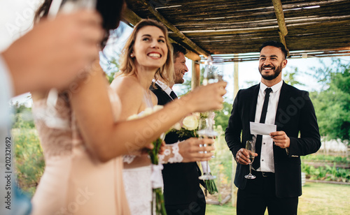 Best Man Performing Speech For Toast At Wedding Reception Buy This