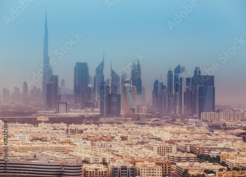 Photo  Aerial view on skyscrapers of Dubai, UAE