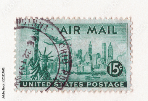 Cuadros en Lienzo  old green vintage american air mail postage stamp with the statue of liberty Man