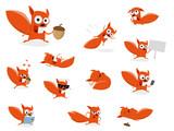 Fototapeta Fototapety na ścianę do pokoju dziecięcego - funny cartoon squirrel clipart collection