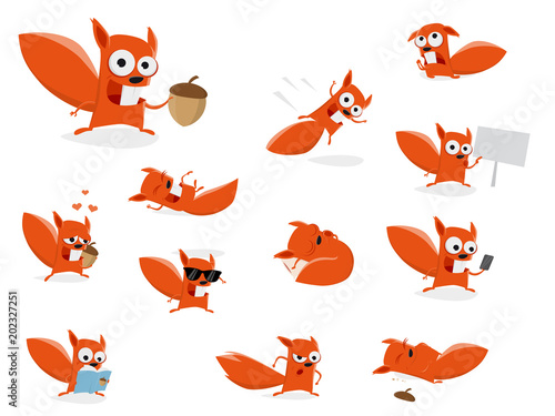 Pinturas sobre lienzo  funny cartoon squirrel clipart collection