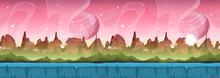 Fairy Sci-fi Alien Landscape For Ui Game/ Illustration Of A Cartoon Seamless Sci-fi Alien Planet Landscape Background, With Layers For Parallax Including Weird Mountains, Stars And Planets