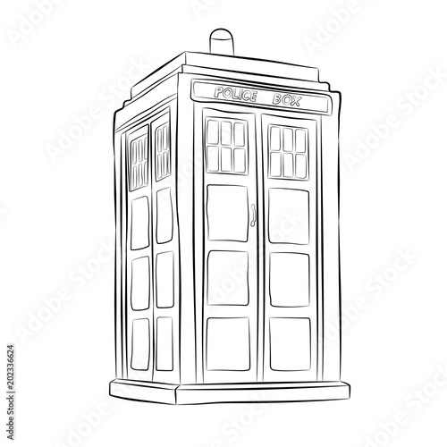 Fototapeta police box contour drawing in pencil