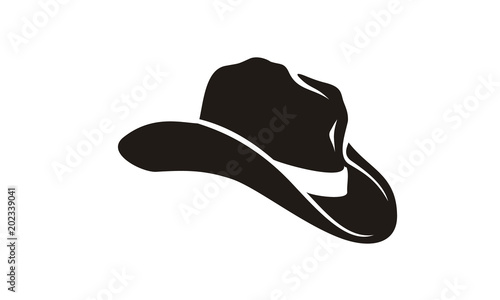 Fototapeta Country Western Cowboy Leather Hat, Texas Sheriff Hat silhouette obraz