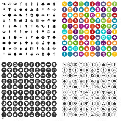 Fototapeta 100 food icons set vector in 4 variant for any web design isolated on white obraz na płótnie