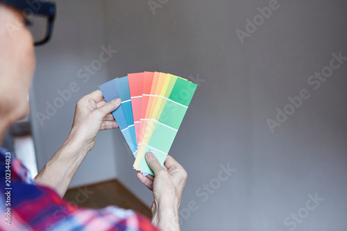 Woman with colour chart