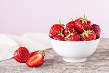 Strawberry In A White Bowl On ...