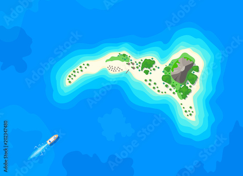 motor boat sailing to tropical island top aerial view