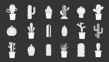Cactus Icon Set Vector White Isolated On Grey Background