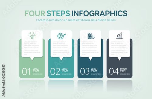 Fotografie, Obraz  Four Steps Infographics