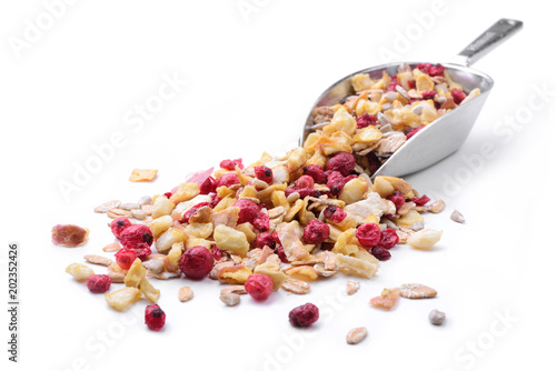 Muesli, a mixture of cereals, red fruits and apple Fototapete