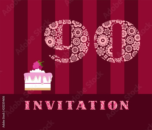 Invitation 90 Years Old Raspberry Pie Vector English The To Birthday Party Wedding Anniversary Color Card Berry Cake With Raspberries