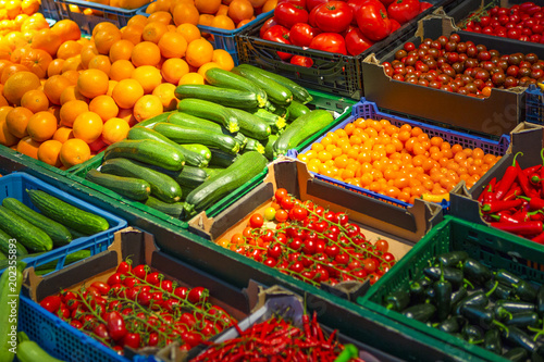 Fotografie, Obraz  Variety of Fruits and Vegetables At Storefront on Market.