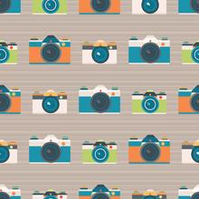 Vector Retro Cameras Stripe Seamless Pattern Background