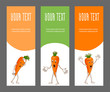 Set of corporate elements with vegetable for branding. Template horizontal bright narrow banners for restaurant, cafe or farmer. Ripe emotional sad, surprised and joyful carrot. Vector illustration