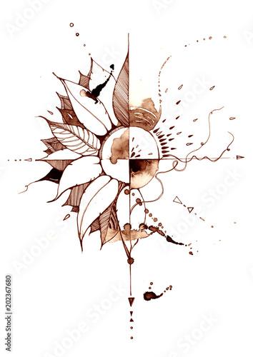 Spoed Foto op Canvas Schilderingen sunflower