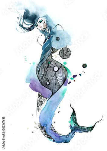 Staande foto Schilderingen mermaid