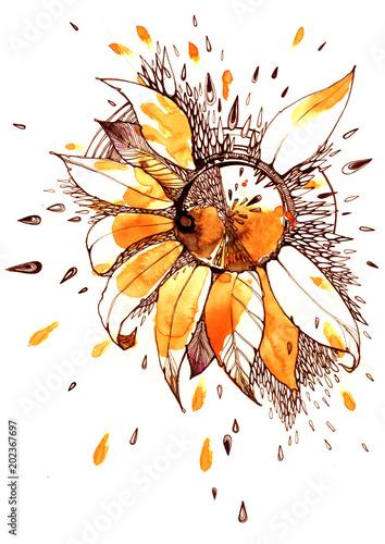 Keuken foto achterwand Schilderingen sunflower