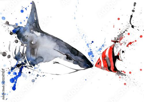 Staande foto Schilderingen fish