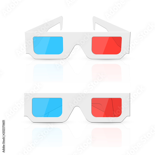 3d glasses set isolated on white background. Vector illustration. Canvas Print