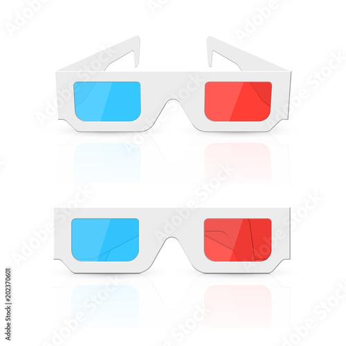 Obraz na plátne 3d glasses set isolated on white background. Vector illustration.