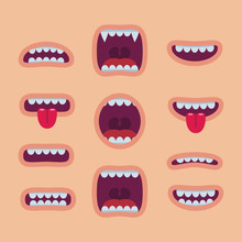 Cartoon Mouths Set. Smile